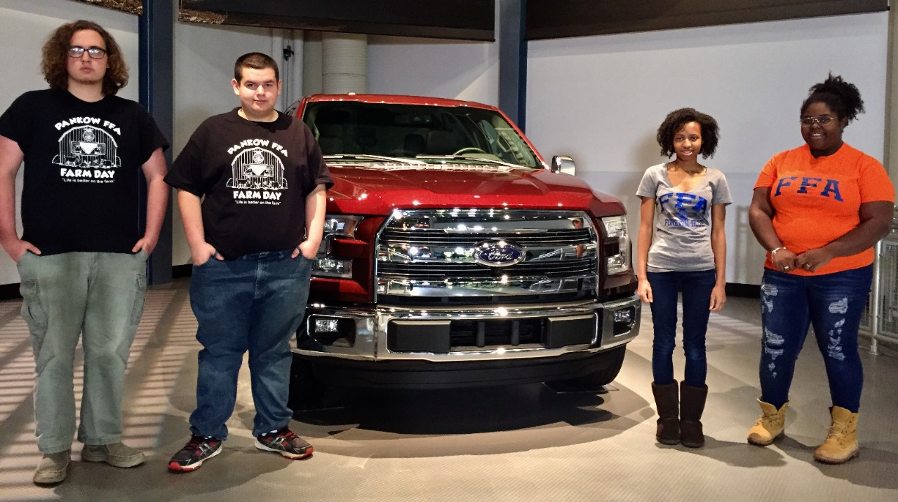 FFA students with an F-Series Truck
