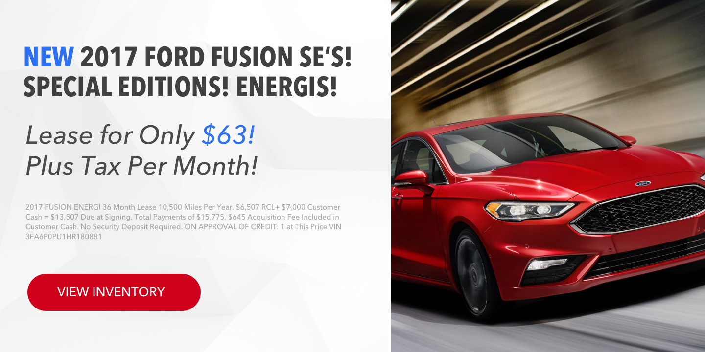 New 2017 Ford Fusion SE Energi available for lease
